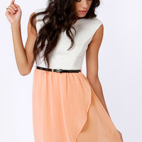 Belt of the Ball Peach and Ivory Belted Dress