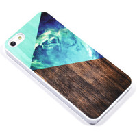 Geometric Galaxy Phone Case - iPhone 5, 4, Samsung Galaxy s3 s4, Ipod Touch 4, 5 - Abstract triangles Space wood - green - 0017