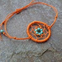 Dream Catcher Bracelet Orange beaded Hemp by MidnightsMojo on Etsy