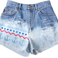 Nautical Anchor Waves Ocean USA Shorts Hand Painted Vintage Distressed High Waisted Denim Boho Hipster Small Medium W26
