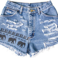 Tribal Aztec Elephant Waves Shorts Hand Painted Vintage Distressed High Waisted Denim Boho Hipster Small Medium W26