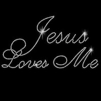Jesus Loves Me Style 2 Iron On DIY Rhinestone Transfer 34070