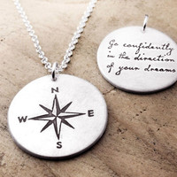 Thoreau inspirational quote necklace Compass by lulubugjewelry