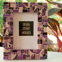 Purple Mosaic Picture Frame 5 x 7 by GreenStreetMosaics on Etsy