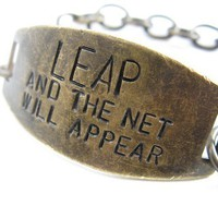 LEAP and the Net WIll Appear hand stamped brass by CobwebCorner