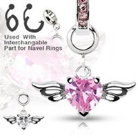 316L Surgical Steel Navel Belly Button Dermal Body Jewelry Charm Ring Pink Heart Wings 14G