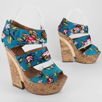 floral print faux cork wedge &amp;#36;29.70 in TEAL - Wedges | GoJane.com
