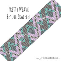Beadweaving Bracelet Pattern, Pretty Weave Peyote Bracelet Pattern, Digital PDF Pattern - Buy 4 get 1 FREE - Instant Download