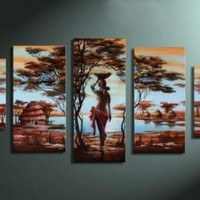 100% Hand-painted Free Shipping Wood Framed Wall Art African Tribe House Beauty Home Decoration Abstract Landscape Oil Painting on Canvas 5pcs/set