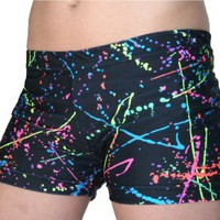 Amazon.com: Neon Paint Splatter Spandex Compression Shorts - (available in 3 lengths): Sports &amp; Outdoors
