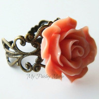 Mothers Day Rose Statement Ring, Cocktail Ring, Bridesmaid Ring,  Vintage Look Filigree Ring