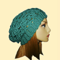 Slouchy Beanie Hat Kelly Green Slouch Women Teen Summer Spring Crochet Hat