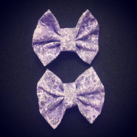 Two Mini Purple Silver Glitter Hair Bow by littledevildecoxo