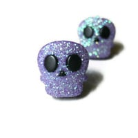 Skull Stud Earrings, Purple Glitter Coating, Choice of Silver Toned or Surgical Steel Posts