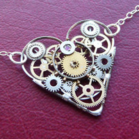 Clockwork Heart Necklace Amour Elegant by amechanicalmind on Etsy