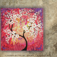 FREE SHIPPING Acrylic Painting &quot;Cherry Blossom&quot; Tree of life Enchanted Forest KSAVERA Abstract Floral Modern Art purple red palette knife