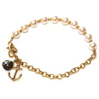 Freshwater Pearl Charm Bracelet Gold Chain Anchor Refuse To Sink FizzCandy Gemstone Jewelry