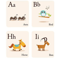 ABC wall decals Illustrated Alphabet wall decals stickers wall decor