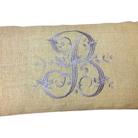 One Kings Lane - Pale Chartreuse Bolster w/ B Monogram