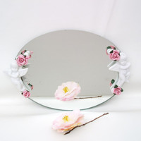 Mirror Vanity Tray, Cherub Tray, Mirrored Perfume Tray,  Oval Mirror - Pink Roses - White Angels