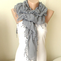 Spring Model Gray Ruffle Scarf from %100 coton with pompom lace