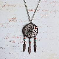 Jade Flower Dream Catcher Necklace