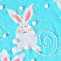 Jack B Quick Bunny Poop Beaded Easter Bunny Tacky Ugly Sweater Women's Size Medium (M)