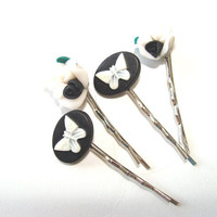 Black And White Cameos And Flowers  Bobby Pins Set of 4  Black With White Butterfly Flowers Black And White