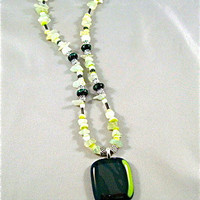 Beaded Fused Glass Green Zebra Choker Pendant by Design4Soul