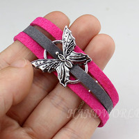 jewelry bracelet beautiful butterfly bracelet retro silver butterfly pendant friendship bracelet fashion braceletbest gift -N1143