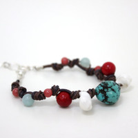 turquoise leather bracelet beaded hemp and leather by BeaKez