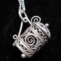 Antique Sterling Silver Chalice Necklace from by Latrouvaille
