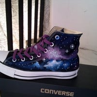 Galaxy Converse Sneakers Purple and Blue by EmilyTamHandPainting
