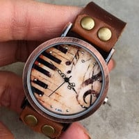 Retro style watch,Piano patter wrist watch bracelet, Brown Leather Bracelet  Wrap Watch, Handmade Women's Watch, Everyday Bracelet  PB025