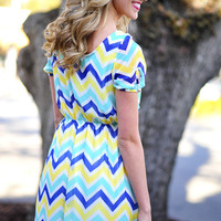 Meet The Parents Chevron Dress: Blue | Hope's