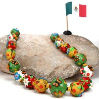 Cinco de Mayo Fiesta Bead Necklace, Red, White, Green, original design