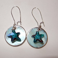 Mother of Pearl Shells with Aqua Starfish Dangle Earrings