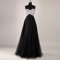 Gorgeous Black A-Line Floor-Length Prom Dress/Graduation Dress