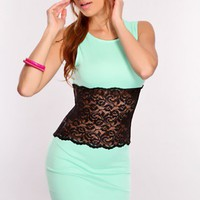 Mint Black Lace Midsection Dress