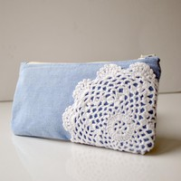 Vintage Doily Denim Coin Purse.