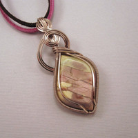 Wire Wrapped Pendant Mauve and green Stone in by UptightWanda