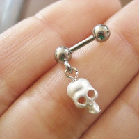Skull Tragus Earring Jewelry Stud Piercing Ring Bar Barbell Post- Matte Silver Tone 16g 16 G Gauge