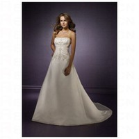 Chic White Satin Straight Neckline A line Strapless Wedding Dress