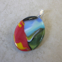 Colorful Pendant, Handmade Pendant, Colorful Jewelry, Modern Jewelry on Etsy - Celina - 4156 -3