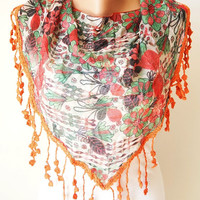 Two side Red,Green  and Purple, Orange Scarf from %100 coton with flora desing and rose lace