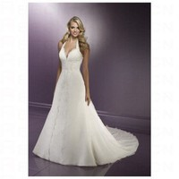 Chic White Taffeta Halter Top Sexy Deep V neck Hot Sell Wedding Dress