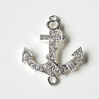 Silver Anchor Charm  Sideways Rhinestone Connector, Nautical Anchor  Sailor Sea (1) Piece
