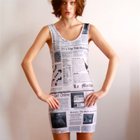 Women summer Dress  newspaper dress by coyotepeyote on Etsy