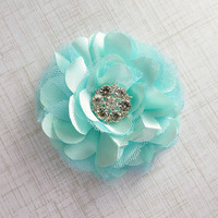 Mint Flower Hair Clip, Bridal Hair Flower, Wedding Accessories by Flower Couture