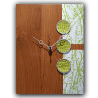 Modern Clock with Lime Green Branches on Cherry by astrokeofgenius